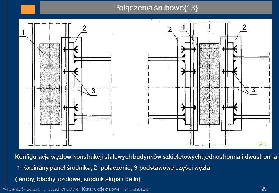 Połączenia śrubowe{13} [2.4] Konfiguracja węzłow konstrukcji stalowych budynków szkieletowych: jednostronna i dwustronna: